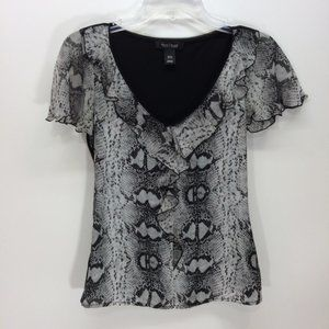 White House Black Market Snakeskin Ruffle Blouse